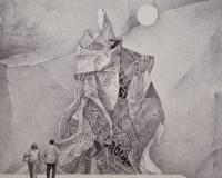 Wieża Babel II, Rysunek długopisem, 30x28cm